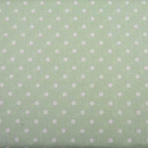 Kropki na seledynowym - tkanina bawełniana