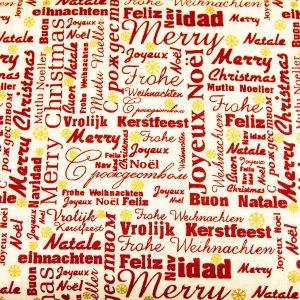 Życzenia świąteczne na kremie - tkanina bawełniana