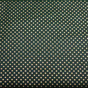 Złote kropeczki na zieleni- tkanina bawełniana