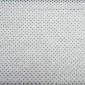 Kropeczki srebrne na bieli - tkanina bawełniana