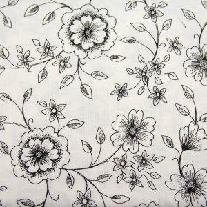 Czarny kwiat na bieli - tkanina bawełniana