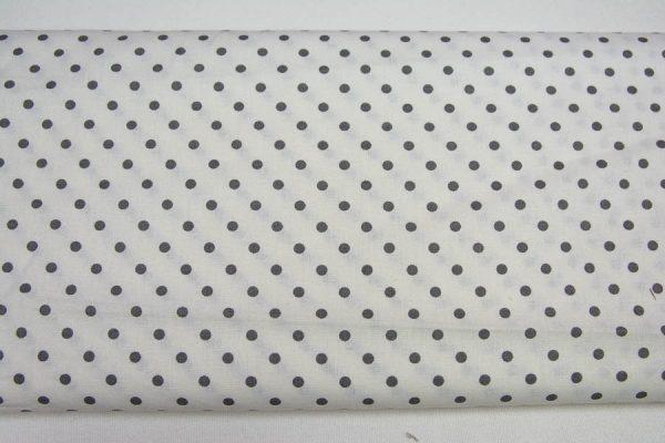 Kropki grafit na bieli - tkanina bawełniana