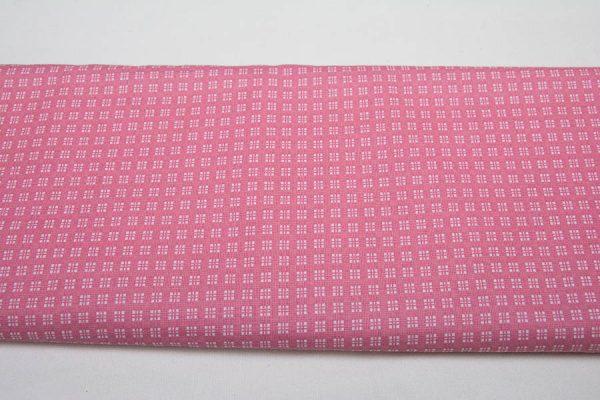 Kwadraciki na różu - tkanina bawełniana