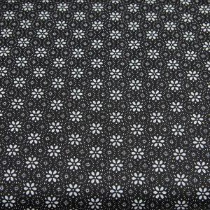 Kwiat margaretki na czarnym - tkanina bawełniana