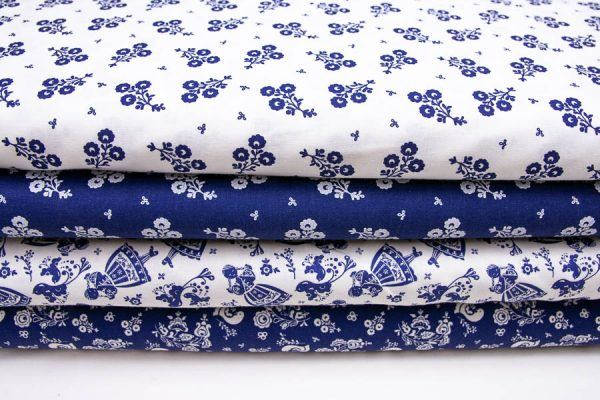 Tkaniny bawełniane szafirowo-białe