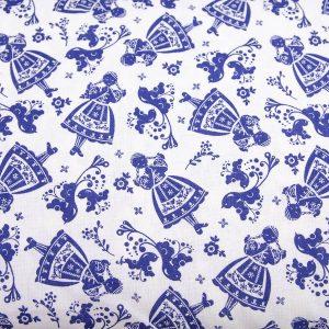 Folkowe dziewczynki ciemny niebieski na bieli - tkanina bawełniana