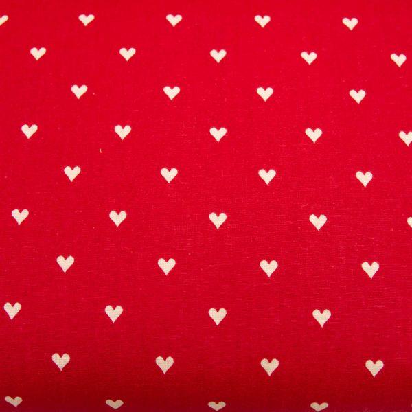 Waniliowe serca na czerwieni - tkanina bawełniana