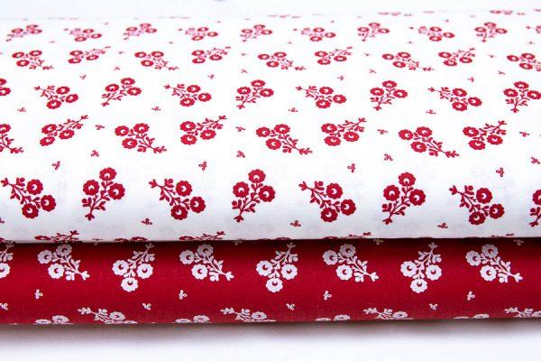 Czerwone bukieciki - tkanina bawełniana