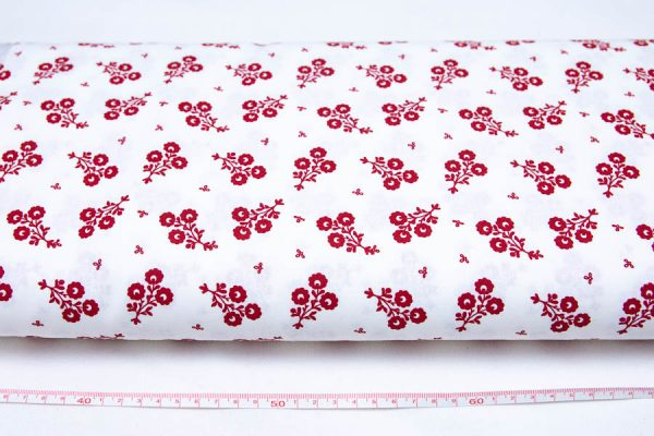 Czerwone bukieciki na bieli - tkanina bawełniana