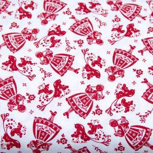 Folkowe dziewczynki czerwony na bieli - tkanina bawełniana