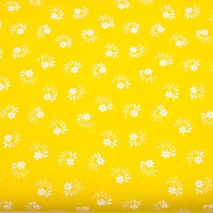 Tkanina bawełniana kwiatuszek pętelka na żółtym
