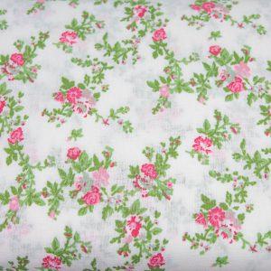 Gałązki kwiatów na bieli - tkanina bawełniana
