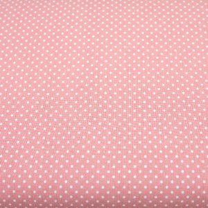 Kropeczki na pudrowym różu - tkanina bawełniana