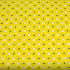 Żółte pastylki z szarą kropeczką - tkanina bawełniana