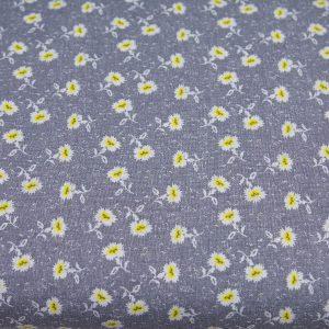 Drobne słoneczniki na szarym - tkanina bawełniana