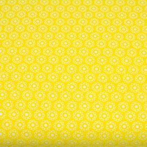 Słoneczka/kwiatuszek na żółtym - tkanina bawełniana