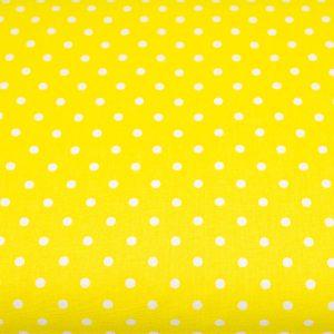 Kropki na żółtym - tkanina bawełniana