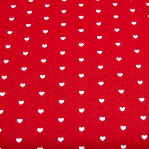 Serduszka na czerwieni - tkanina bawełniana