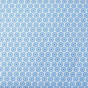 Słoneczka/kwiatuszek niebieskie na bieli - tkanina bawełniana