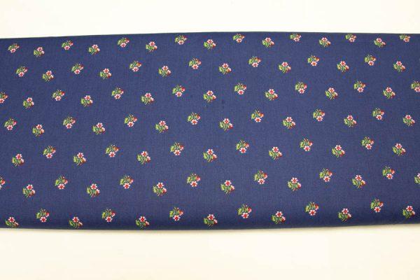 Folkowe różyczki na granacie - tkanina bawełniana