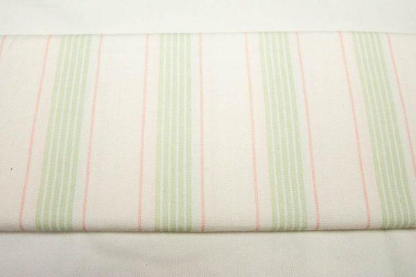 Paski zieleń-róż na bieli - tkanina bawełniana