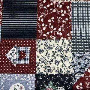 Patchwork granatowo-bordowy - tkanina bawełniana