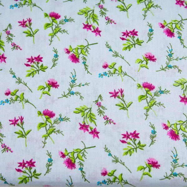 Romantyczne kwiatuszki na wrzosowym - tkanina bawełniana PREMIUM