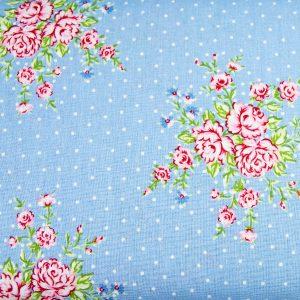 Róże i kropeczki na błękicie - tkanina bawełniana