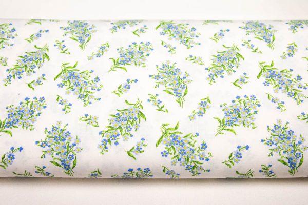Kwiatuszki niezapominajki na bieli - tkanina bawełniana