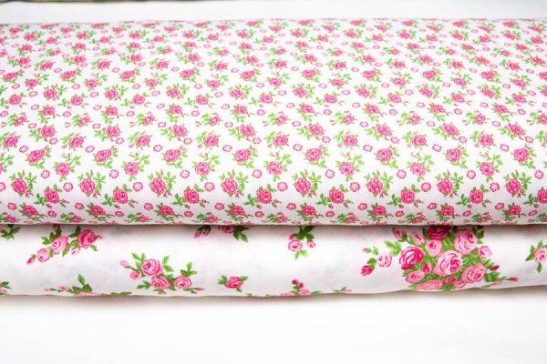 róże na bieli - tkanina bawełniana
