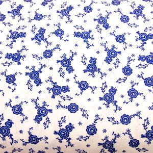 Ciemnoniebieskie pawie oczka na bieli - tkanina bawełniana
