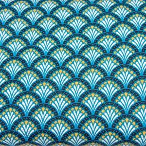 Orientalne wachlarze na niebieskim - tkanina bawełniana