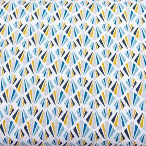 Wachlarze miód/niebieski- tkanina bawełniana