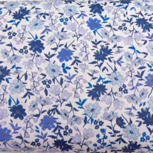 Delikatne niebieskie kwiatuszki - tkanina bawełniana PREMIUM