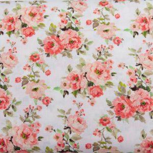 Gałązki różane na bieli - tkanina bawełniana