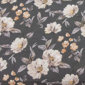 Akwarelowe kwiaty na graficie - tkanina bawełniana