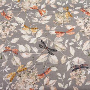 Ważki na listkach - tkanina bawełniana