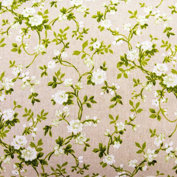 Pnące kwiaty na beżu - tkanina bawełniano-poliestrowa