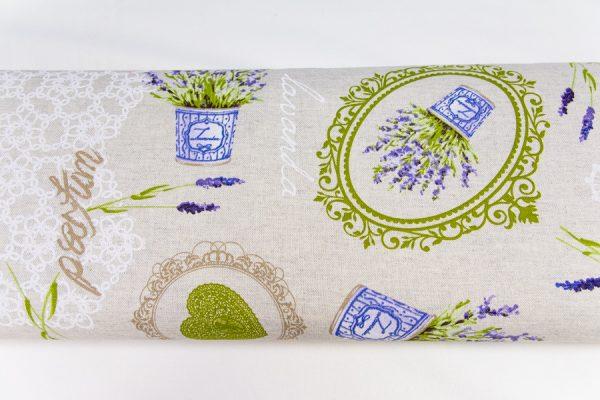 Lawenda w doniczkach na beżu - tkanina bawełniano-poliestrowa