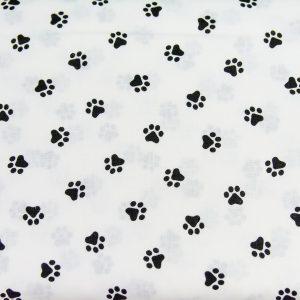 Czarne łapki na bieli - tkanina bawełniana