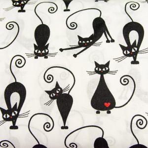 Czarne koty na bieli - tkanina bawełniana