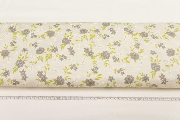 Szare kwiaty na beżu - tkanina bawełniana