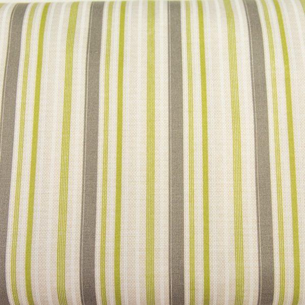 Zielono-szare paski na beżu - tkanina bawełniana