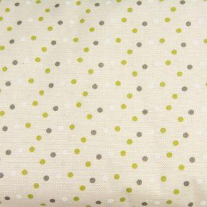 Zielono-szare kropeczki na beżu