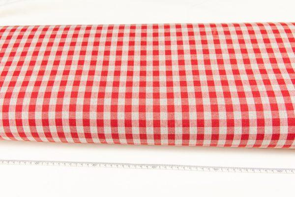 Czerwona kratka - tkanina bawełniano-poliestrowa tkana