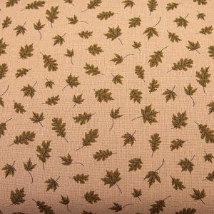 Jesienne listki na kakaowym - tkanina bawełniana