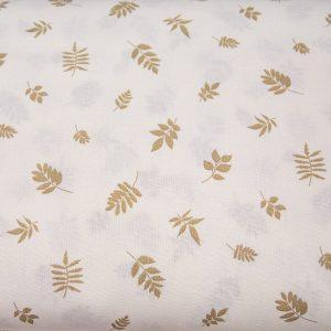 Beżowe listki na kremowym - tkanina bawełniana