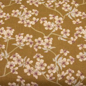 Kwiat wiśni na brązowym - tkanina bawełniana
