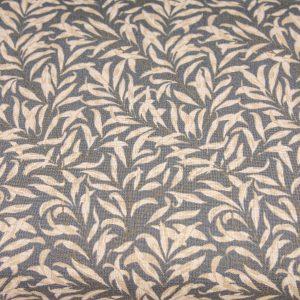 Beżowe listki na graficie - tkanina bawełniana