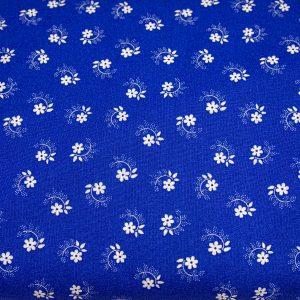 Kwiatuszek pętelka biały na ciemnoniebieskim - tkanina bawełniana